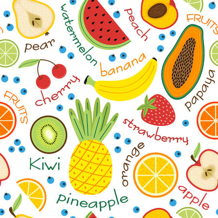 Seamless pattern with fruits and inscriptions- vector illustration, eps