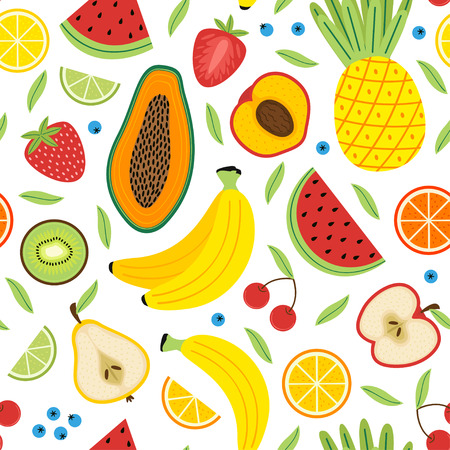 Modèle sans couture avec des fruits - illustration vectorielle, eps