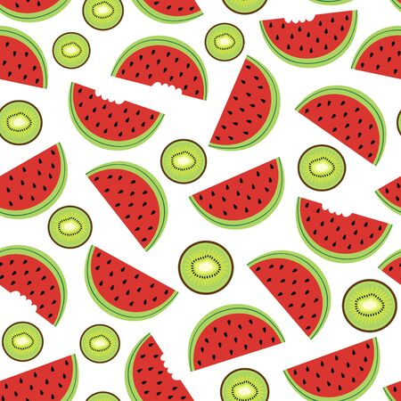 Seamless pattern with watermelon and kiwi - vector illustration, eps