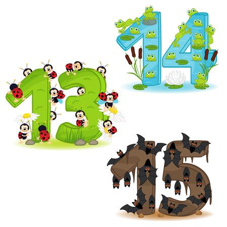 Set von Zahlen mit Anzahl von Tieren von 13 bis 15 - Vektor-Illustration, eps Illustration