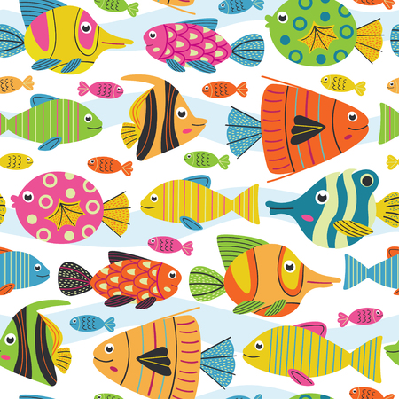 Seamless pattern with fish - vector illustration, eps