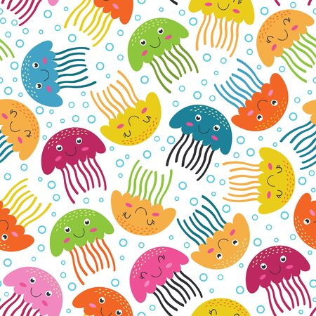 Seamless pattern with jellyfish - vector illustration, eps