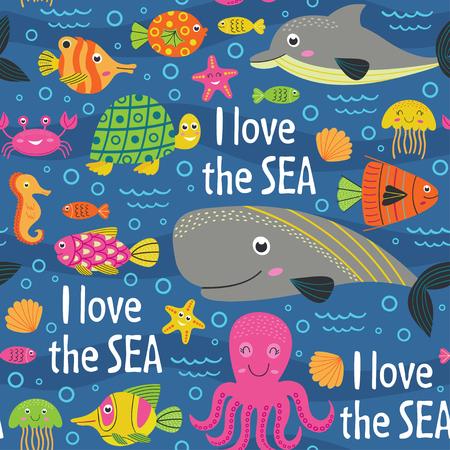 Seamless pattern under the sea - vector illustration, eps