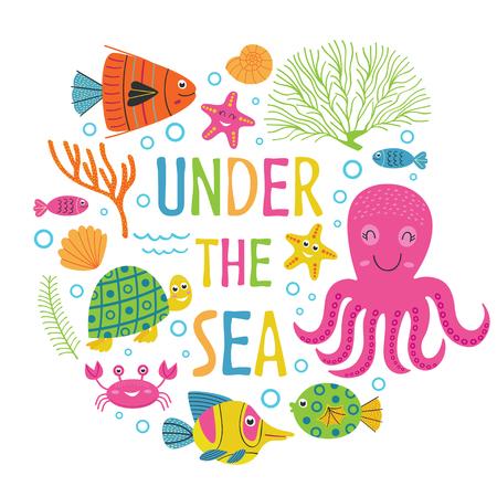 Under the sea - vector illustration, eps