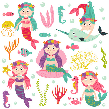 mythological character: Set of isolated mermaid with marine animals and plants - vector illustration, eps