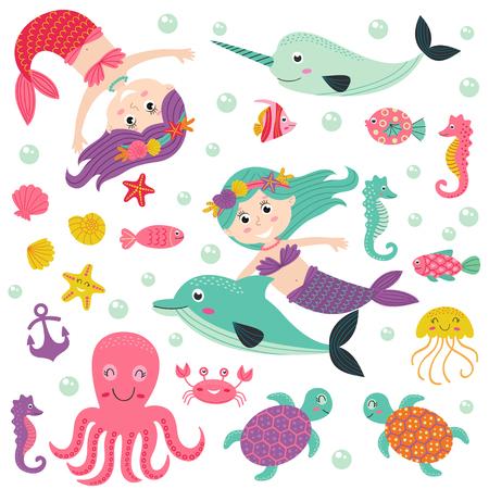 mythological character: Set of isolated mermaid with marine animals - vector illustration, eps Illustration