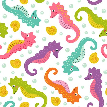 horse fish: Seamless pattern with cute sea horse - vector illustration, eps