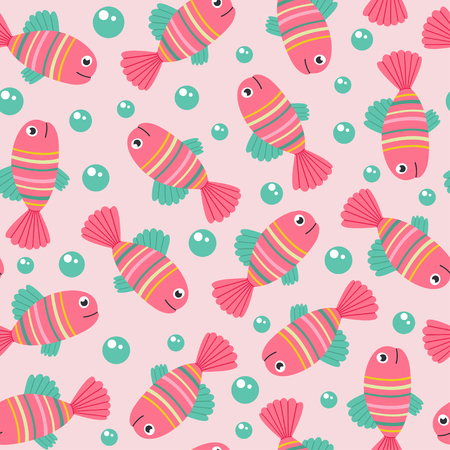Seamless pattern with pink fish - vector illustration, eps