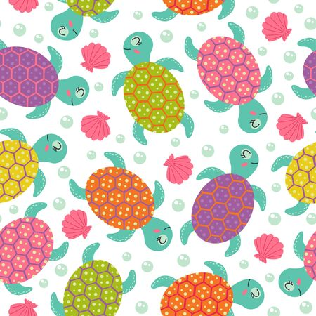 Seamless pattern with turtle - vector illustration, eps