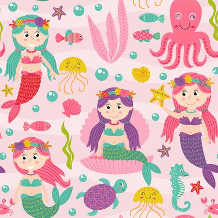 Nahtlose Muster rosa mit Meerjungfrau und Meerestiere - Vektor-Illustration, EPS