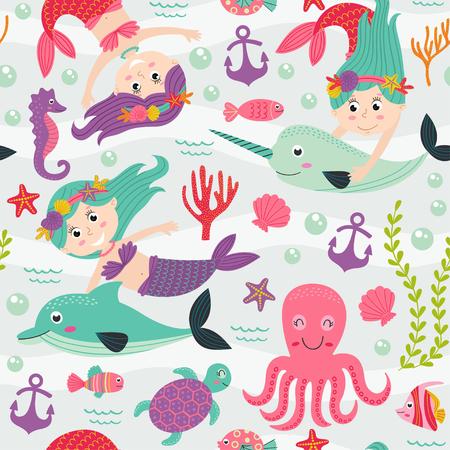 Nahtloses Muster mit Meerjungfrau und Meerestieren Standard-Bild - 83224208