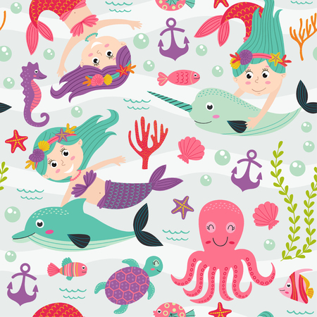 mythological character: Seamless pattern with mermaid and marine animals