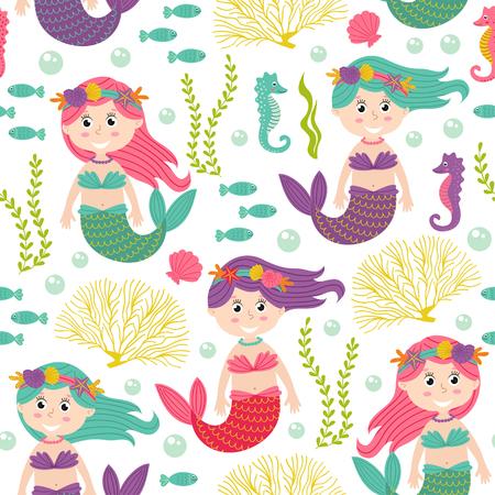 Nahtlose Muster mit Meerjungfrau unter dem Meer - Vektor-Illustration, EPS Illustration