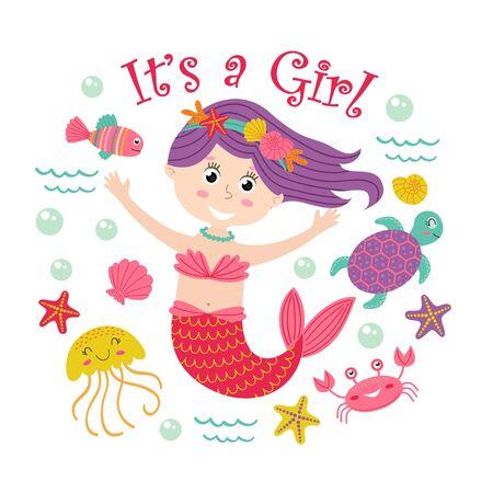 Card with mermaid girl and marine animals - vector illustration, eps Illustration