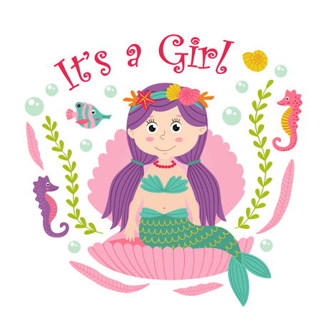 Card with mermaid sits in the seashell - vector illustration, eps Illustration