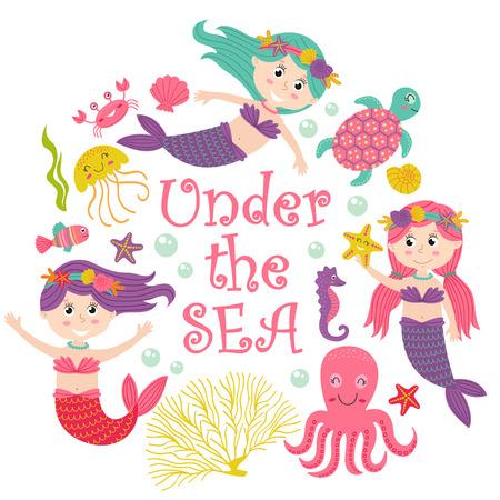 Karte mit Meerjungfrau unter dem Meer - vector Illustration, ENV Standard-Bild - 83277545