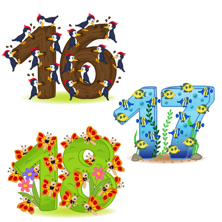 Set of numbers with design of animals from 16 to 18 - vector illustration, eps