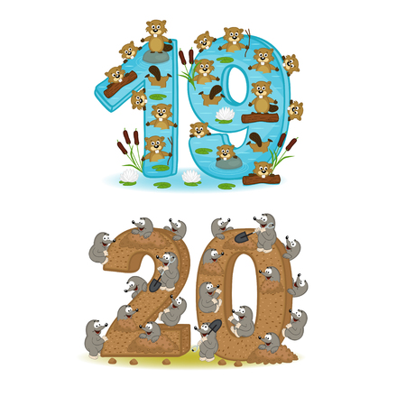 Set of numbers with design of animals from 19 to 20 - vector illustration, eps Illustration
