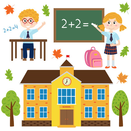 An isolated building school and children - vector illustration, eps
