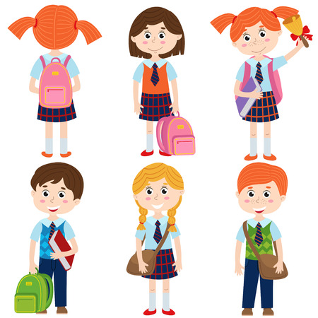 Set of isolated pupils of the school - vector illustration, eps Illustration