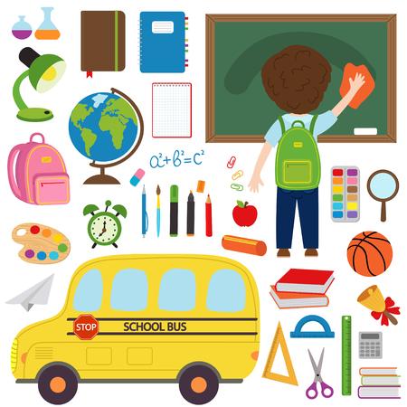 Set von isolierten Schulbus und Schulbedarf und Spielzeug-Vektor-Illustration, EPS