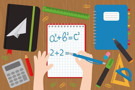 Eine Vektor-Illustration einer Hand schreibt auf die Mathe-Notebook-EPS