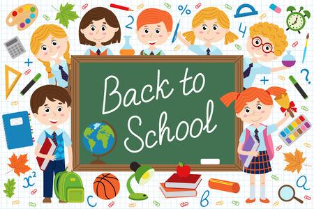 Back to school blackboard with schoolchild and school supplies - vector illustration, eps Illustration