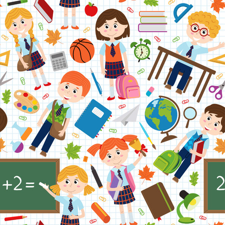 Seamless pattern with pupils and school supplies - vector illustration, eps Stock Illustratie