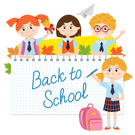 Back to school with pupils - vector illustration, eps