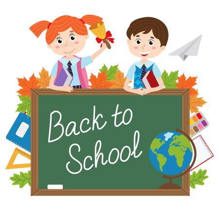 Blackboard with pupils and school supplies - vector illustration, eps