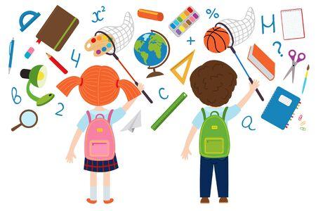 Mädchen und Junge Fänge der Schule liefert - Vektor-Illustration, eps