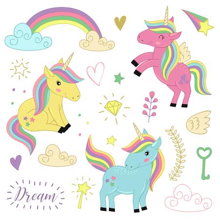 Set of isolated unicorns and elements.