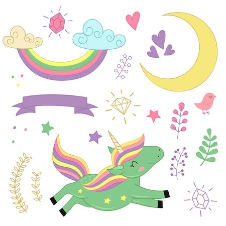 Set of isolated unicorn and elements. Illustration