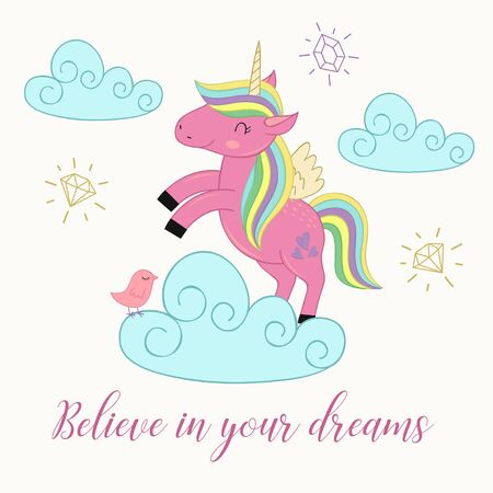 Card with unicorn on the cloud. Illustration
