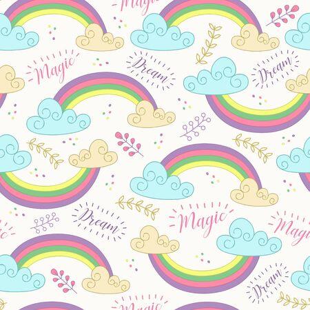 Seamless pattern with cute rainbow. Illustration