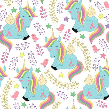 Seamless pattern with unicorn and bird - vector illustration, eps