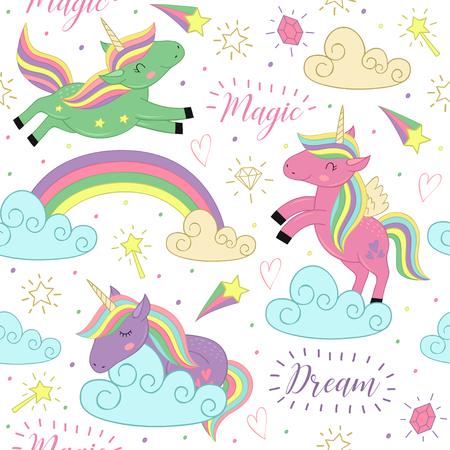 Nahtlose Muster mit magischen Einhorn - Vektor-Illustration.
