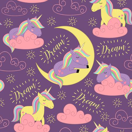 Seamless pattern with sleeping unicorn - vector illustration, eps