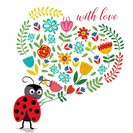Ladybird with heart of flowers - vector illustration, eps Illustration