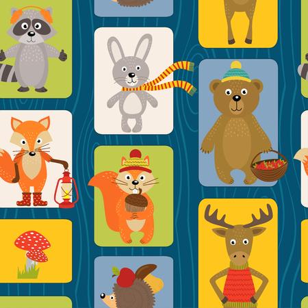Nahtlose Muster mit Tieren des Waldes - Vektor-Illustration, EPS Illustration