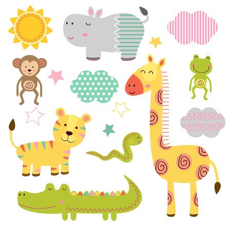 孤立した赤ちゃんジャングル動物パート 1 - ベクトル図では、eps のセット