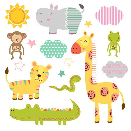 set of isolated baby jungle animals part 1 - vector illustration, eps
