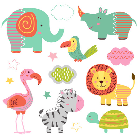 set of isolated baby jungle animals part 2 - vector illustration, eps
