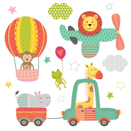 set of isolated transportation with baby jungle animals - vector illustration, eps