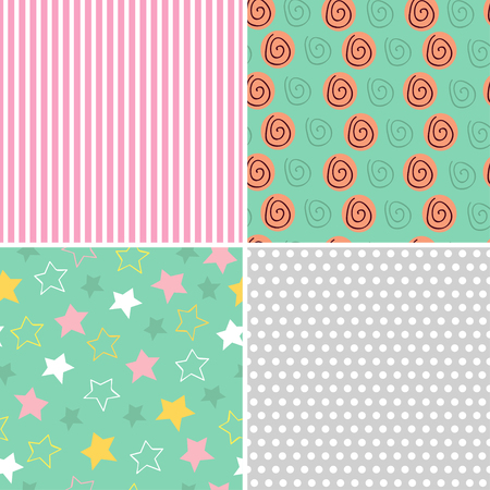 set of isolated seamless pattern baby abstract - vector illustration, eps