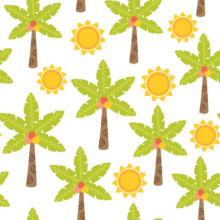 seamless pattern with palm tree and sun - vector illustration, eps