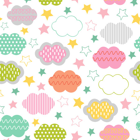 seamless pattern with clouds and star - vector illustration, eps Illustration