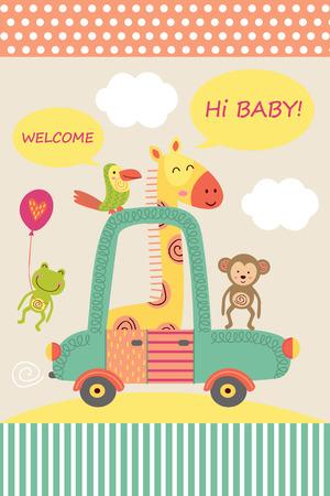 Karte mit Baby Giraffe im Auto - Vektor-Illustration
