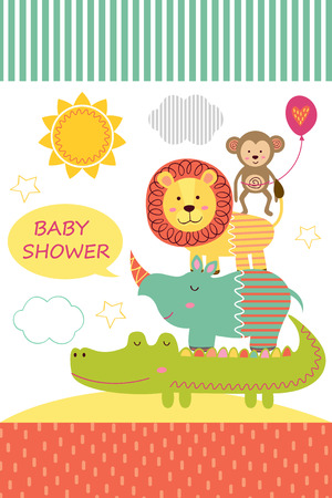 Card with baby jungle animals - vector illustration, eps. Illustration