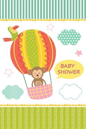 Karte mit Baby-Affe auf Luftballon.